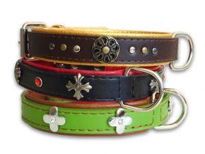 Ornament Leather Dog Collar