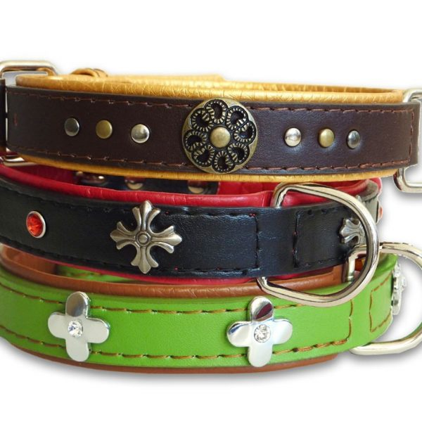 Ornament Leather Dog Collar