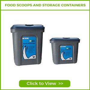 DOG FOOD SCOOPS AND STORAGE CONTAINERS