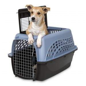 Petmate 2 Door Top Load Kennel 24 inch up to 15 lbs In Ash Blue