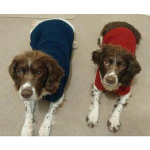NAVY HAND KNIT CROCHET DOG JUMPER