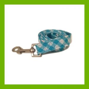 BLUE CHECK DOG LEAD