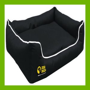 WATERPROOF DOG DREAMER SETTEE - BLACK WITH WHITE PIPING