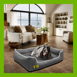 WATERPROOF DOG DREAMER SETTEE - GREY WITH WHITE PIPING