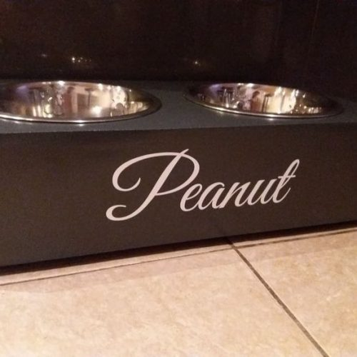 PERSONALISED CLASSIC CAT BOWL STAND STATION